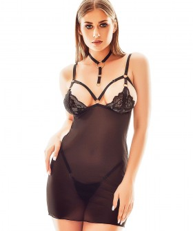 Короткая прозрачная черная сорочка с ошейником в комплекте