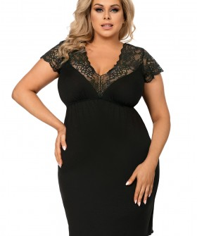 Черная женская ночная сорочка большого размера из вискозы с кружевом