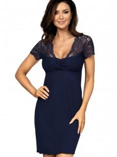 Трикотажная женская ночная сорочка из вискозы с коротким кружевным рукавом синяя