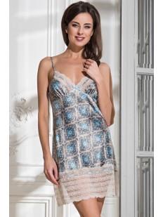 Женская атласная ночная сорочка с кружевной отделкой