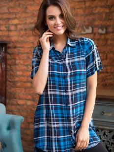 Клетчатая ночная рубашка из вискозы с короткими рукавами Mia-Mia Davina