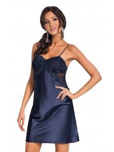 Атласная ночная сорочка женская на бретелях с кружевным лифом синяя