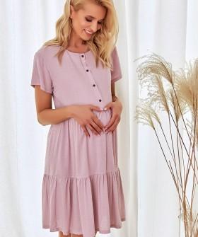 Розовая сорочка из вискозы для беременных и кормящих