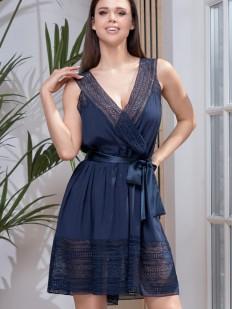 Трикотажная женская сорочка с поясом и ажурными вставками