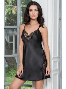 Черная атласная ночная сорочка с кружевными вставками Mia-Mella Mirabella