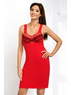 Женская красная ночная сорочка из вискозы без рукавов