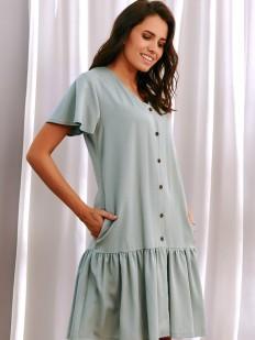 Зеленая домашняя сорочка из тенселя свободного кроя с юбочкой
