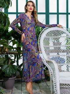 Летнее женское длинное платье для дома с синим принтом