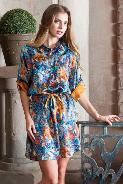 Летняя женская шелковая рубашка туника Mia-Mia Yesenia 15136 - фото 1