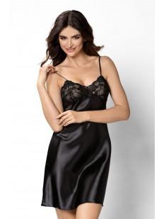 Атласная ночная сорочка женская короткая с кружевным лифом черная