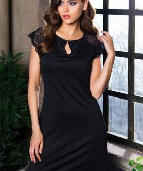 Женская атласная ночная сорочка черная