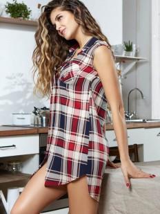 Женская летняя домашняя туника без рукавов из вискозы в клетку