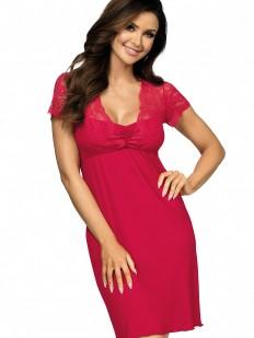 Трикотажная женская ночная сорочка из вискозы с коротким кружевным рукавом винная