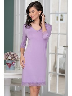 Сиреневая трикотажная короткая сорочка из вискозы с длинным рукавом