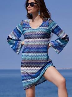 Пляжная женская туника с длинным рукавом и синим принтом