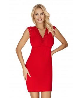 Красная ночная сорочка из вискозы с коротким кружевным рукавом