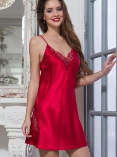 Красная атласная сорочка с кружевными вставками Mia-Mella Mirabella