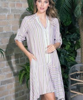 Женское домашнее платье из вискозы в полоску на пуговицах сиреневое