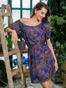 Летнее женское домашнее платье с синим принтом