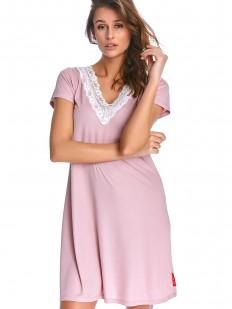 Розовая женская летняя ночная сорочка из модала и хлопка