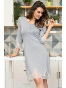 Женское домашнее серое платье из вискозы с кружевом