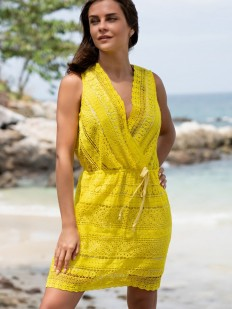 Желтый короткий пляжный сарафан с кружевом