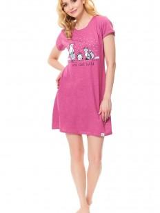 Женская розовая ночная сорочка короткая с принтом