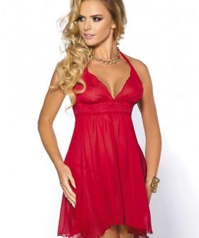 Женская короткая красная сорочка с кружевом и трусики