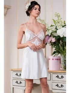 Атласная свадебная сорочка с кружевным топом на тонких бретелях