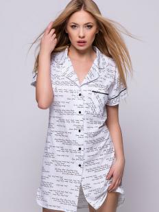 Хлопковая женская белая ночная рубашка на пуговицах
