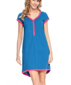 Синяя сорочка в роддом с пуговицами для беременных и кормящих
