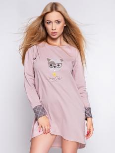 Домашняя женская пудровая сорочка из хлопка с принтом собачки