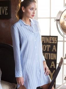 Женская хлопковая ночная сорочка рубашка в полоску Mia-Mia Cindy