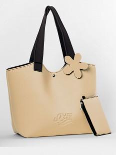 Бежевая летняя сумка с кошельком в комплекте