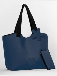 Синяя летняя сумка с кошельком в комплекте