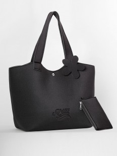 Черная летняя сумка с кошельком в комплекте