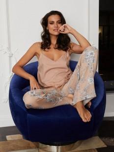 Пудровый пижамный женский топ из тонкой вискозы на тонких бретелях