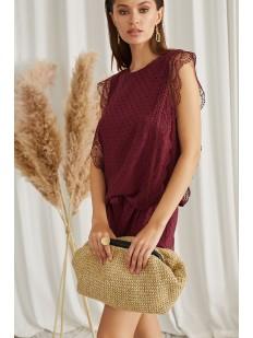 Бордовая летняя блуза без рукавов с кружевным декором