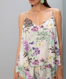 Женский пижамный топ с цветочным принтом