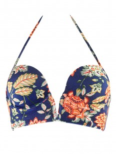 Верх купальника с пуш ап чашками на косточках и винтажным цветочным принтом