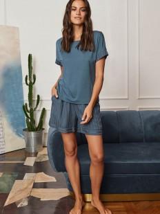 Синие женские шорты для дома из вискозы в полоску