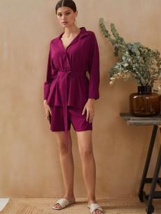Фиолетовые домашние женские шорты с карманами