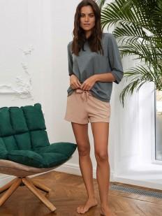 Бежевые женские шорты для дома из меланжевой ткани