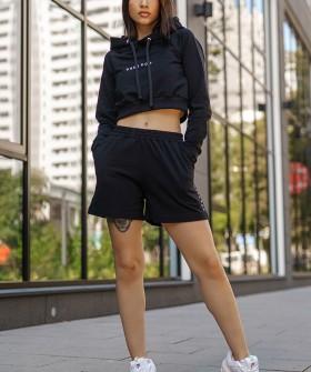 Черные женские шорты из хлопка с высокой посадкой