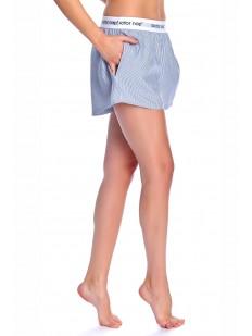 Голубые домашние женские шорты в белую полоску