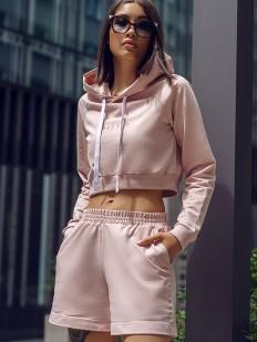 Телесные женские шорты из хлопка с высокой посадкой