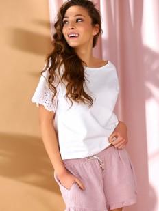 Розовые домашние женские шорты из хлопка с карманами