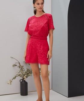 Розовые женские шорты из хлопка с перфорацией