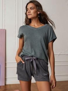 Серые домашние женские шорты из меланжевой ткани