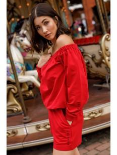 Красные женские шорты из хлопка с высокой посадкой